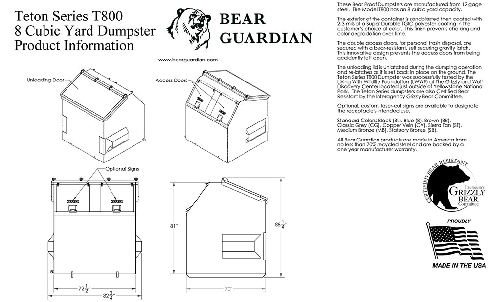 Teton Series T800 Dumpster CAD drawing.